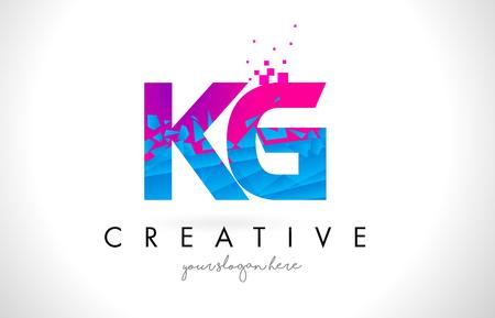 KG K G Letter Logo with Broken Shattered Blue Pink Triangles Texture Design Vector Illustration.