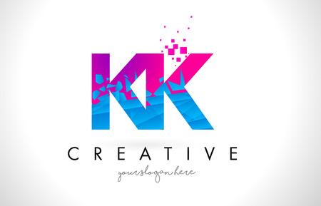 KK K K Letter Logo with Broken Shattered Blue Pink Triangles Texture Design Vector Illustration. Logó