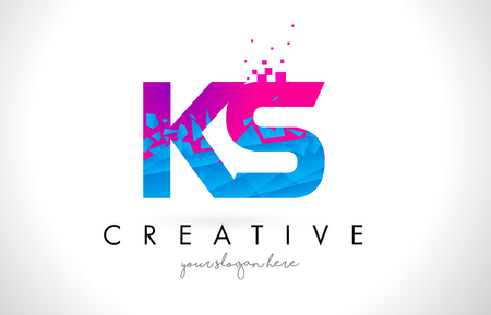 KS K S Letter Logo with Broken Shattered Blue Pink Triangles Texture Design Vector Illustration.