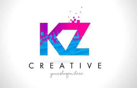 kz: KZ K Z Letter Logo with Broken Shattered Blue Pink Triangles Texture Design Vector Illustration. Illustration