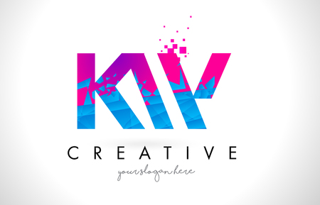 kw: KW K W Letter Logo with Broken Shattered Blue Pink Triangles Texture Design Vector Illustration. Illustration