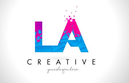 la: LA L A Letter Logo with Broken Shattered Blue Pink Triangles Texture Design Vector Illustration.