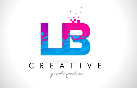 LB L B 文字ロゴ壊れて粉々 になった青いピンク三角形テクスチャ デザイン ベクトル イラスト。