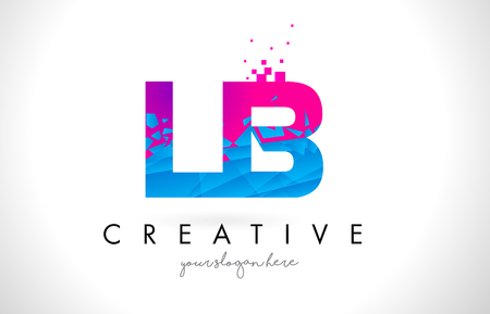 LB L B Letter Logo with Broken Shattered Blue Pink Triangles Texture Design Vector Illustration.