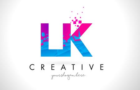 Logo LK LK z Złamanymi Niebieskimi Różowymi Wzorcami Ilustracji Wektorowych. Logo