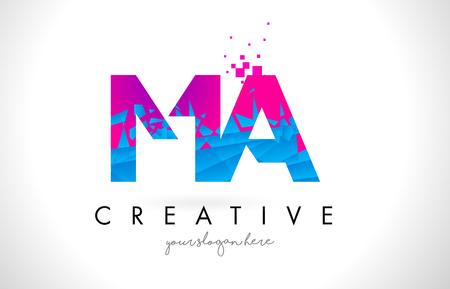 MA M A Letter Logo with Broken Shattered Blue Pink Triangles Texture Design Vector Illustration. Logo