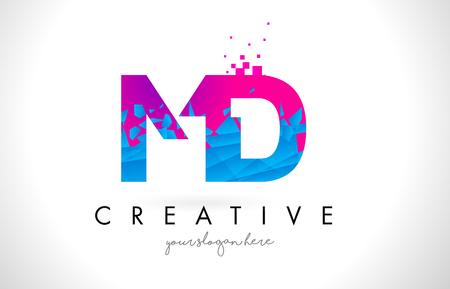 MD M D Letter Logo with Broken Shattered Blue Pink Triangles Texture Design Vector Illustration.