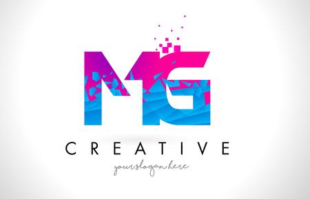 MG M G Letter Logo with Broken Shattered Blue Pink Triangles Texture Design Vector Illustration.