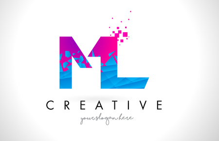 ml: ML M L Letter Logo with Broken Shattered Blue Pink Triangles Texture Design Vector Illustration.