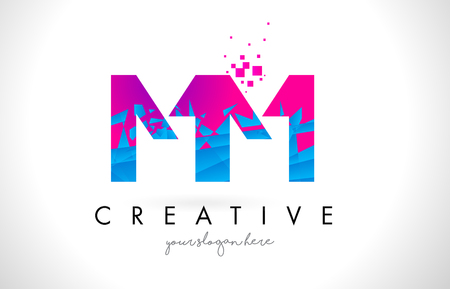 MM M M Letter Logo with Broken Shattered Blue Pink Triangles Texture Design Vector Illustration. Ilustração