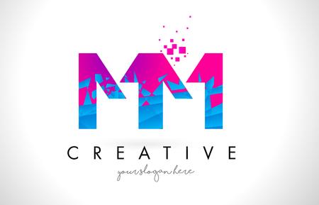 MM M M Letter Logo with Broken Shattered Blue Pink Triangles Texture Design Vector Illustration. Illustration