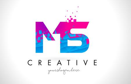 MS M S Letter Logo with Broken Shattered Blue Pink Triangles Texture Design Vector Illustration.