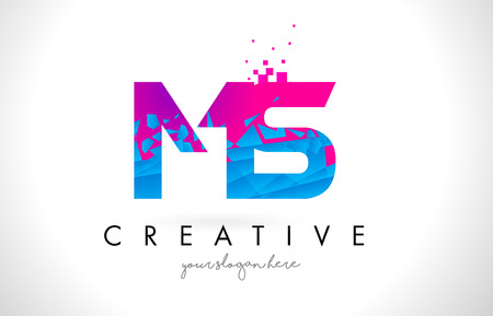 MS M S Letter Logo with Broken Shattered Blue Pink Triangles Texture Design Vector Illustration.