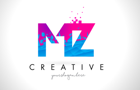 MZ M Z Letter Logo with Broken Shattered Blue Pink Triangles Texture Design Vector Illustration.