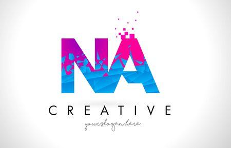 NA N A Letter Logo with Broken Shattered Blue Pink Triangles Texture Design Vector Illustration. Illustration