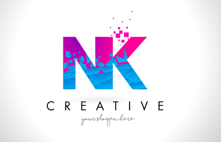 NK N K Letter Logo with Broken Shattered Blue Pink Triangles Texture Design Vector Illustration.