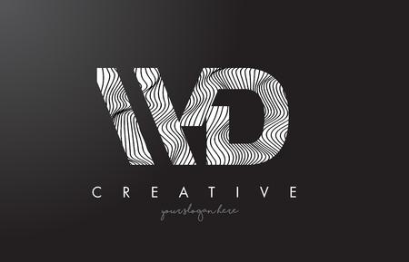 WD W D Letter Logo with Zebra Lines Texture Design Vector Illustration. Illustration