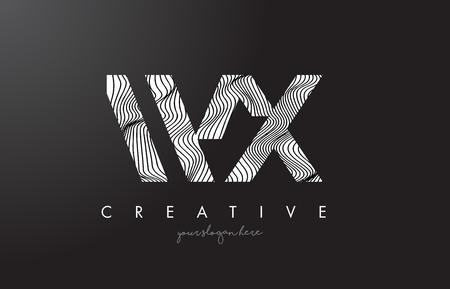 WX W X Letter Logo with Zebra Lines Texture Design Vector Illustration.