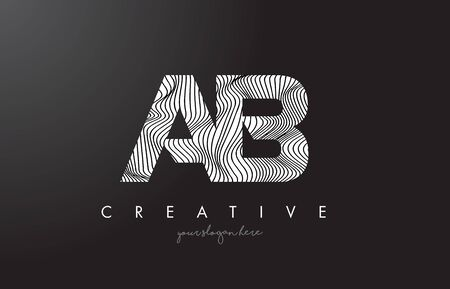 AB A B Letter Logo with Zebra Lines Texture Design Vector Illustration.