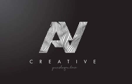 AY A Y Letter Logo with Zebra Lines Texture Design Vector Illustration.