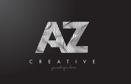 az: AZ A Z Letter Logo with Zebra Lines Texture Design Vector Illustration.
