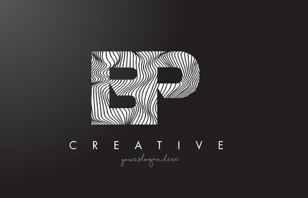 BP B P Letter Logo with Zebra Lines Texture Design Vector Illustration. Illustration