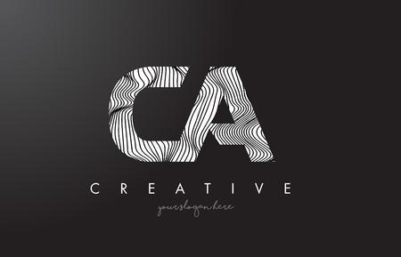 CA C A Letter Logo with Zebra Lines Texture Design Vector Illustration.