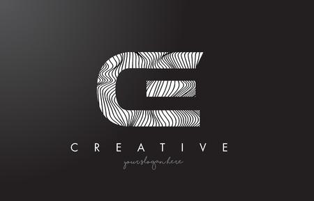 CE C E Letter Logo with Zebra Lines Texture Design Vector Illustration.
