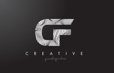 CF C F Letter Logo with Zebra Lines Texture Design Vector Illustration. Illustration