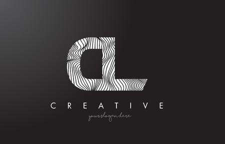CL C L Letter Logo with Zebra Lines Texture Design Vector Illustration.