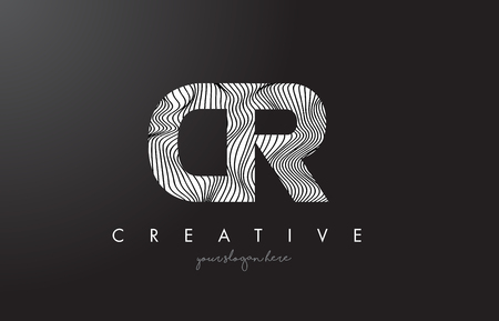 cr: CR C R Letter Logo with Zebra Lines Texture Design Vector Illustration.