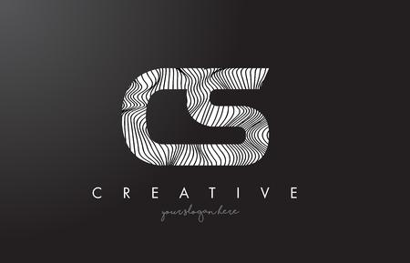 cs: CS C S Letter Logo with Zebra Lines Texture Design Vector Illustration.