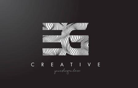 EG E G Letter Logo with Zebra Lines Texture Design Vector Illustration. Logó