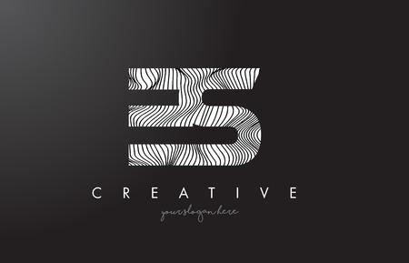 ES E S Letter Logo with Zebra Lines Texture Design Vector Illustration.