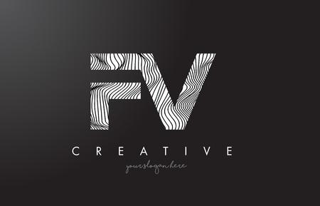 fv: FV F V Letter Logo with Zebra Lines Texture Design Vector Illustration.