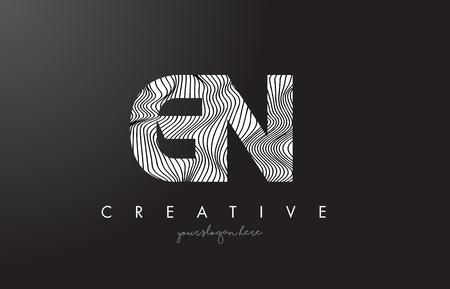 GN G N Letter Logo with Zebra Lines Texture Design Vector Illustration. Logó