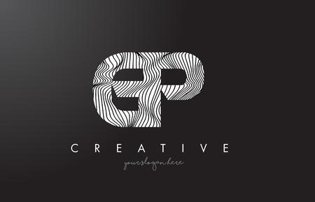 GP G P Letter Logo with Zebra Lines Texture Design Vector Illustration.