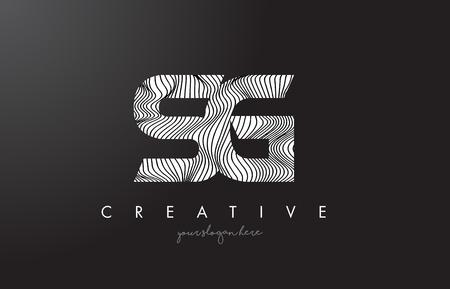 sg: SG S G Letter Logo with Zebra Lines Texture Design Vector Illustration.