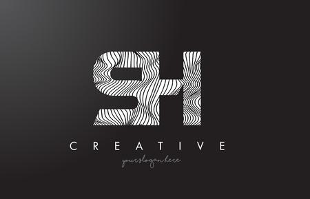 sh: SH S H Letter Logo with Zebra Lines Texture Design Vector Illustration.