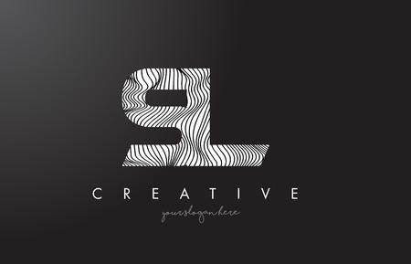 SL S L Letter Logo with Zebra Lines Texture Design Vector Illustration.
