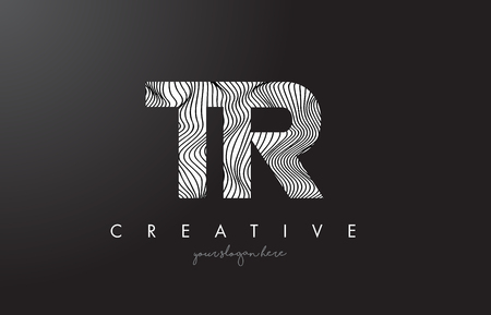 TR T R Letter Logo with Zebra Lines Texture Design Vector Illustration.