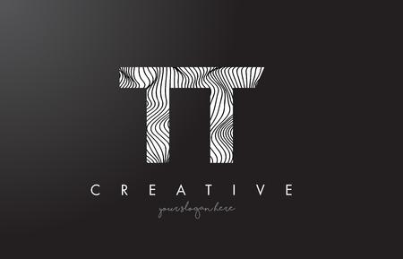 TT T Letter Logo with Zebra Lines Texture Design Vector Illustration.