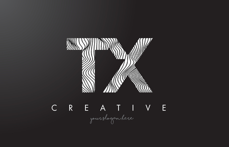 tx: TX T X Letter Logo with Zebra Lines Texture Design Vector Illustration.