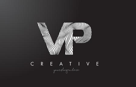 VP V P Letter Logo with Zebra Lines Texture Design Vector Illustration.