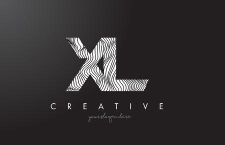 XL X L Letter Logo with Zebra Lines Texture Design Vector Illustration.