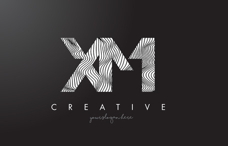 xm: XM X M Letter Logo with Zebra Lines Texture Design Vector Illustration.