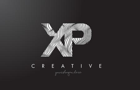 XP X P Letter Logo with Zebra Lines Texture Design Vector Illustration. Illustration