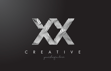 XX X X Letter Logo with Zebra Lines Texture Design Vector Illustration.