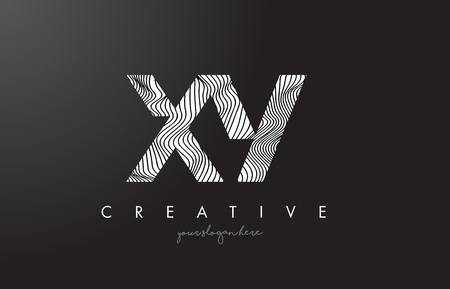 xy: XY X Y Letter Logo with Zebra Lines Texture Design Vector Illustration.