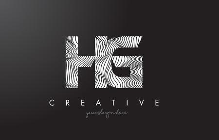 HG H G Letter Logo with Zebra Lines Texture Design Vector Illustration.